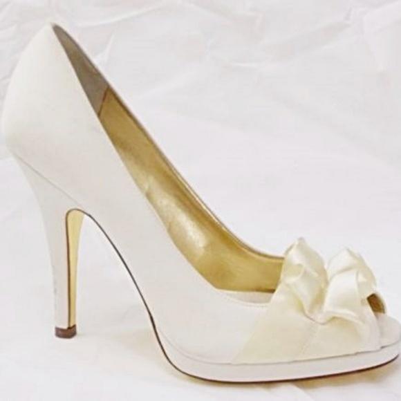 2ae32e124fd9c Nina Shoes | Ivory Satin Peep Toe Pumps Bridal Formal | Poshmark